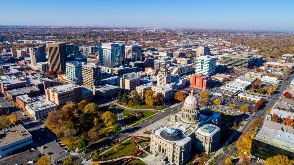 Shot of downtown Boise Idaho from above in the Fall